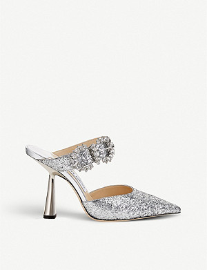 JIMMY CHOO Smokey 100 embellished glitter heeled mules