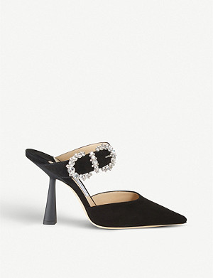 JIMMY CHOO Smokey 100 embellished suede heeled mules