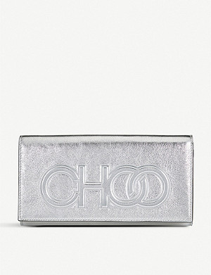 JIMMY CHOO Santini metallic-leather clutch