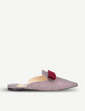 JIMMY CHOO Galaxy Flat Prince of Stars checked leather mules