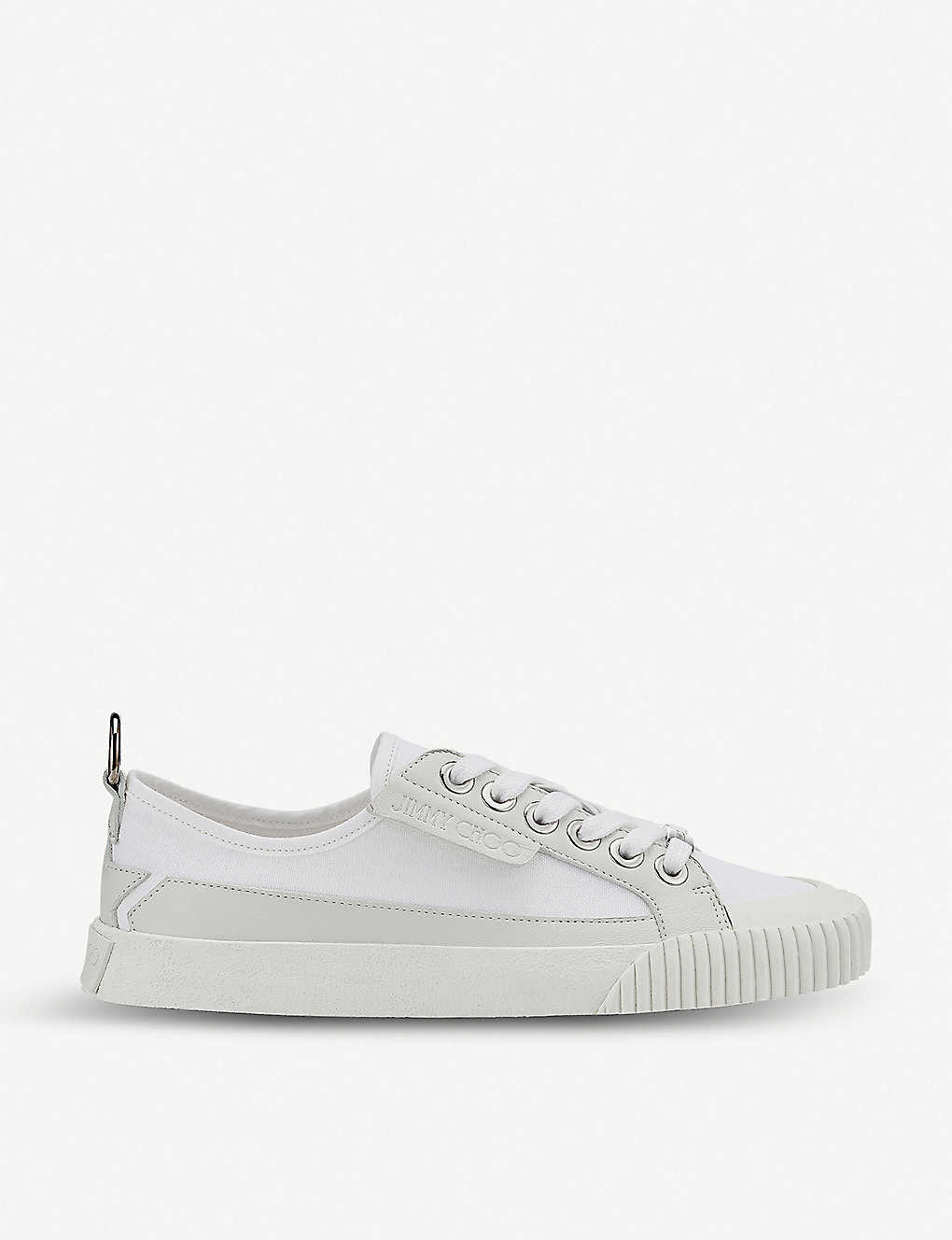 JIMMY CHOO: Impala canvas and leather low-top trainers