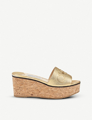 JIMMY CHOO Deedee 80 leather wedge mules