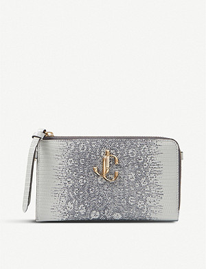JIMMY CHOO Jolly lizard-embossed leather card holder