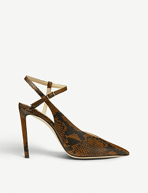 JIMMY CHOO Sakeya 100 snake-print leather courts