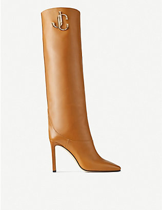 JIMMY CHOO: Mahesa 100 leather knee-high boots
