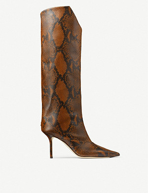 JIMMY CHOO Brelan 85 snake-print leather knee-high boots