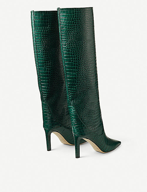 JIMMY CHOO Mavis 85 croc-embossed leather knee-high boots