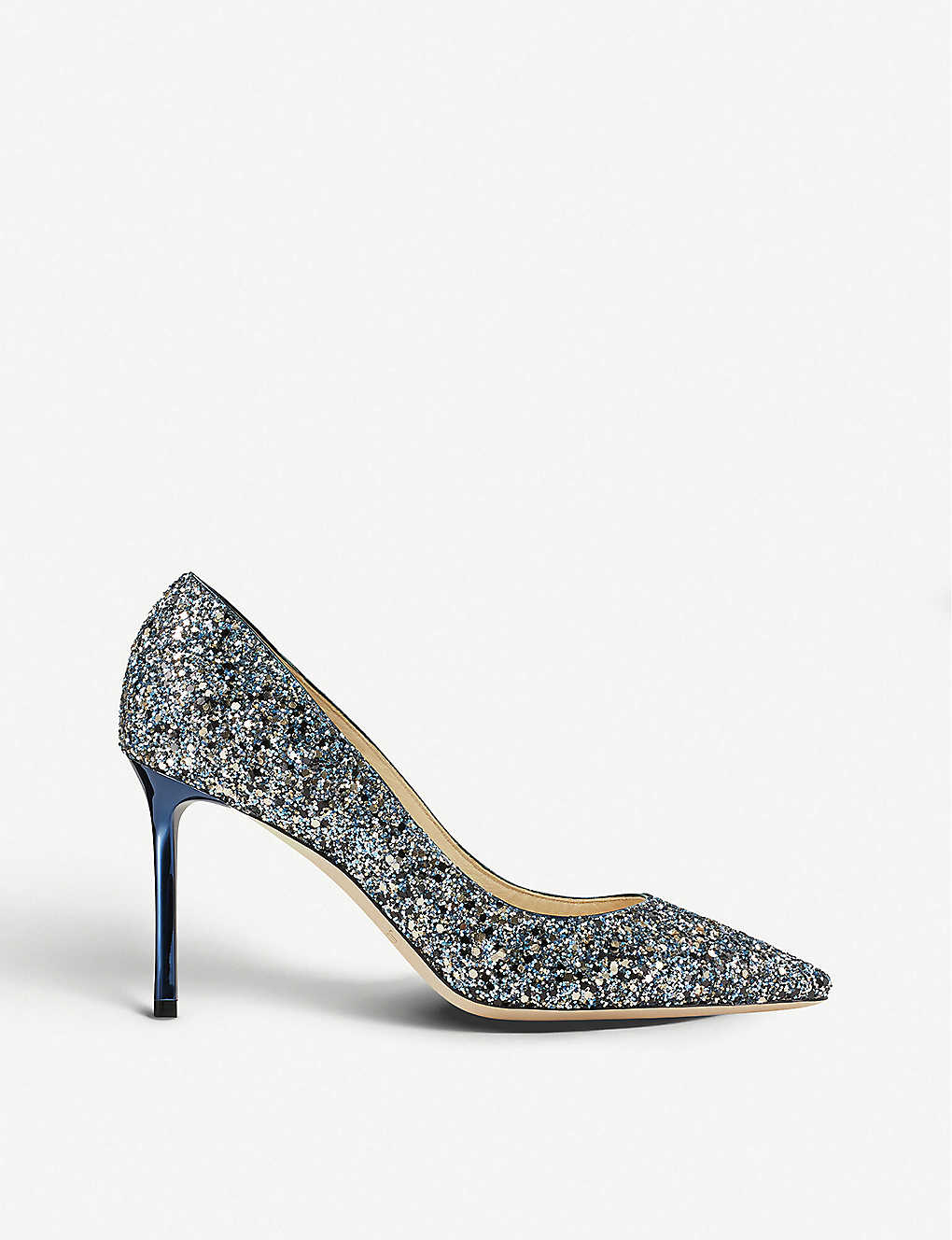 JIMMY CHOO: Romy 85 party coarse gl electric blue m