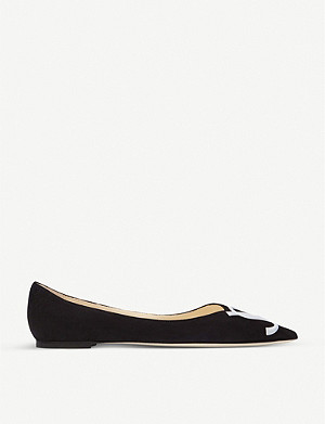 JIMMY CHOO Love logo-embroidered suede pointed-toe flats