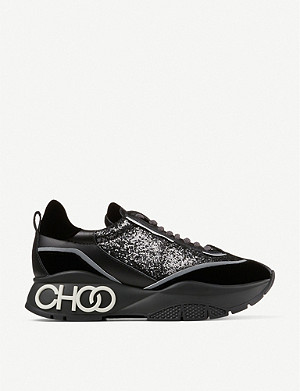 JIMMY CHOO Raine glitter and leather trainers