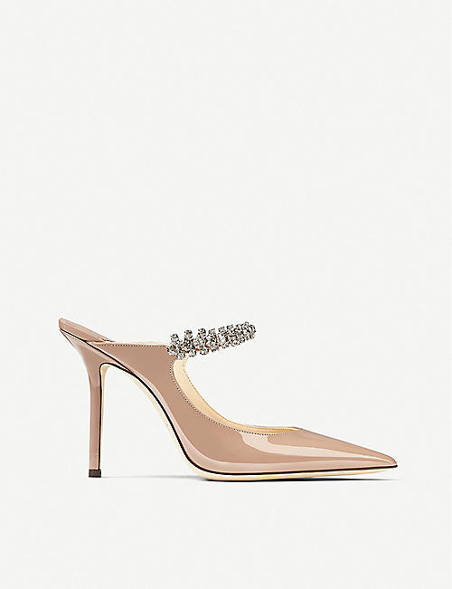 JIMMY CHOO: Bing 100 crystal-embellished patent-leather heeled mules
