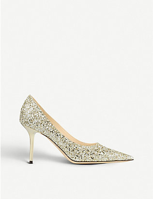 JIMMY CHOO: Love 85 glittered pumps