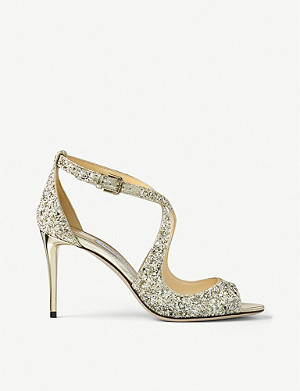 JIMMY CHOO Emily 85 glitter heeled sandals