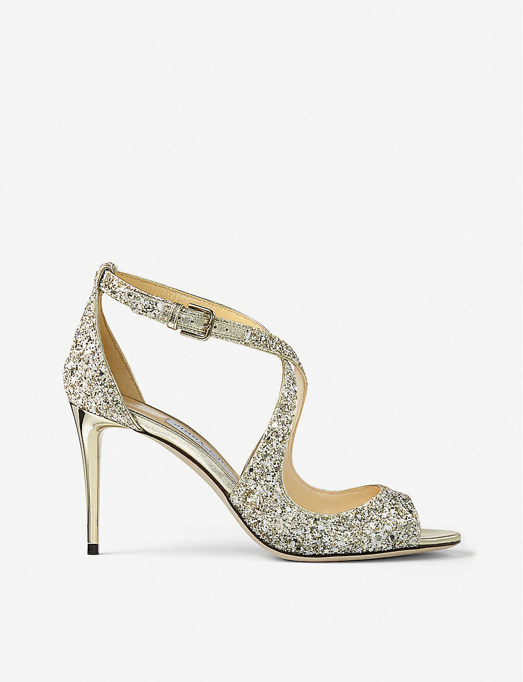 JIMMY CHOO: Emily 85 glitter heeled sandals