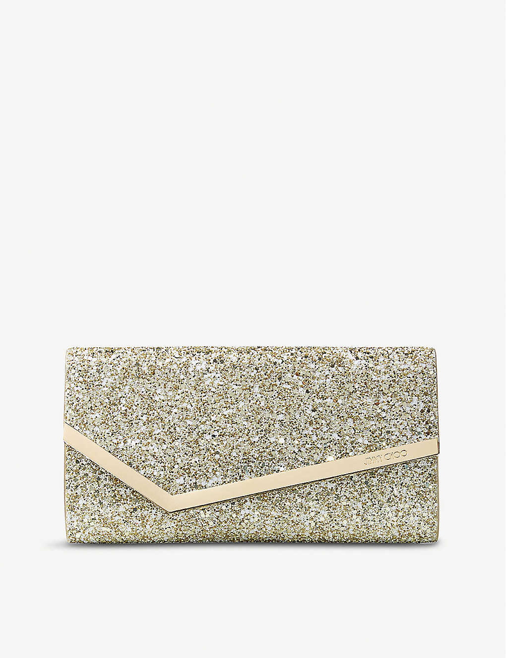 JIMMY CHOO: Emmie Infinity glitter and suede clutch