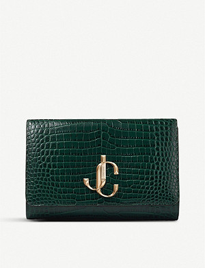 JIMMY CHOO Varenne crocodile-embossed leather clutch