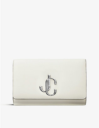 JIMMY CHOO: Varenne logo-plaqué leather clutch