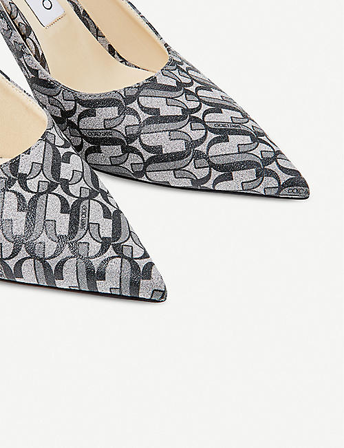 JIMMY CHOO Love 85 monogrammed glitter leather courts
