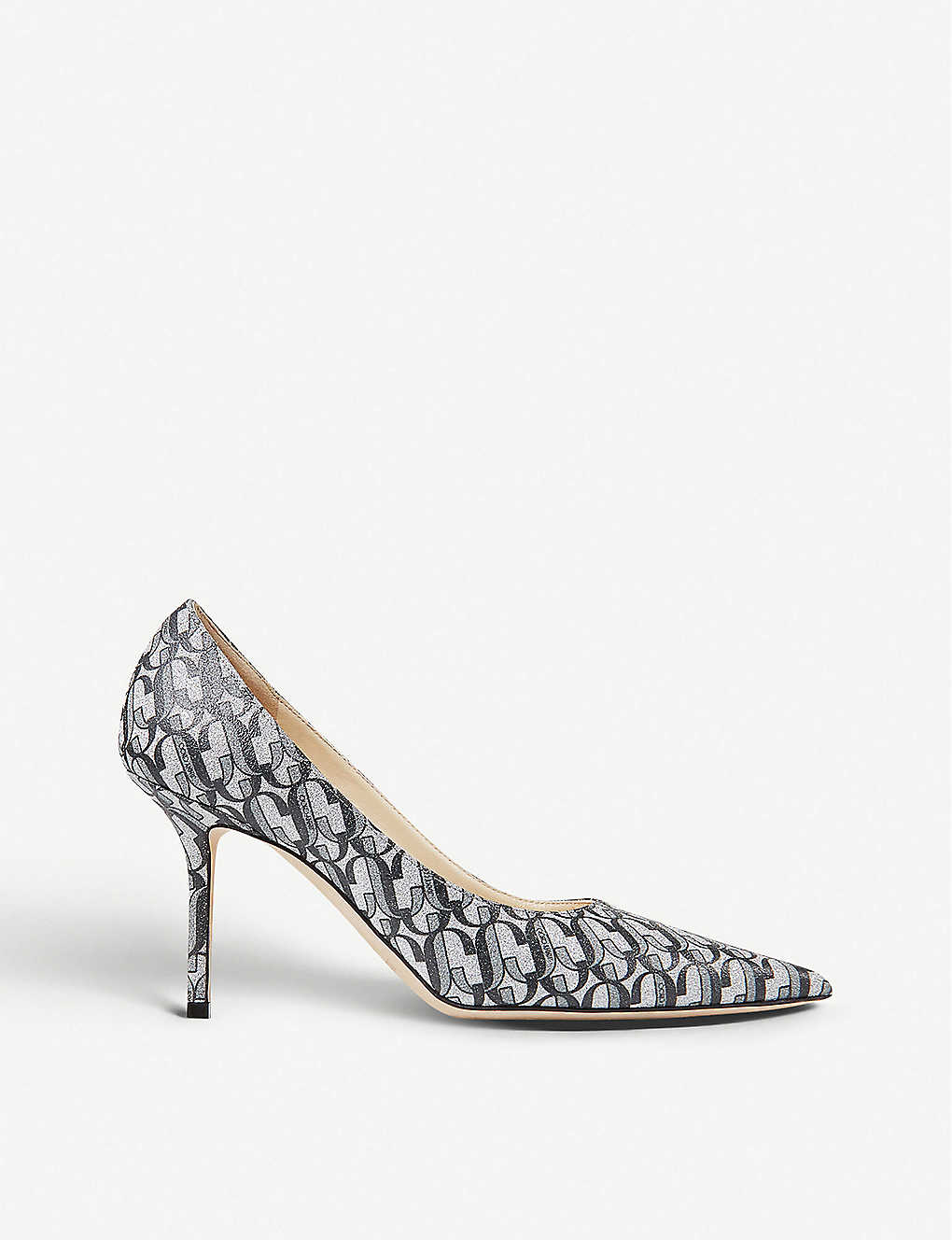 JIMMY CHOO: Love 85 monogrammed glitter leather courts