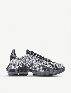 JIMMY CHOO Diamond F monogrammed metallic-leather trainers