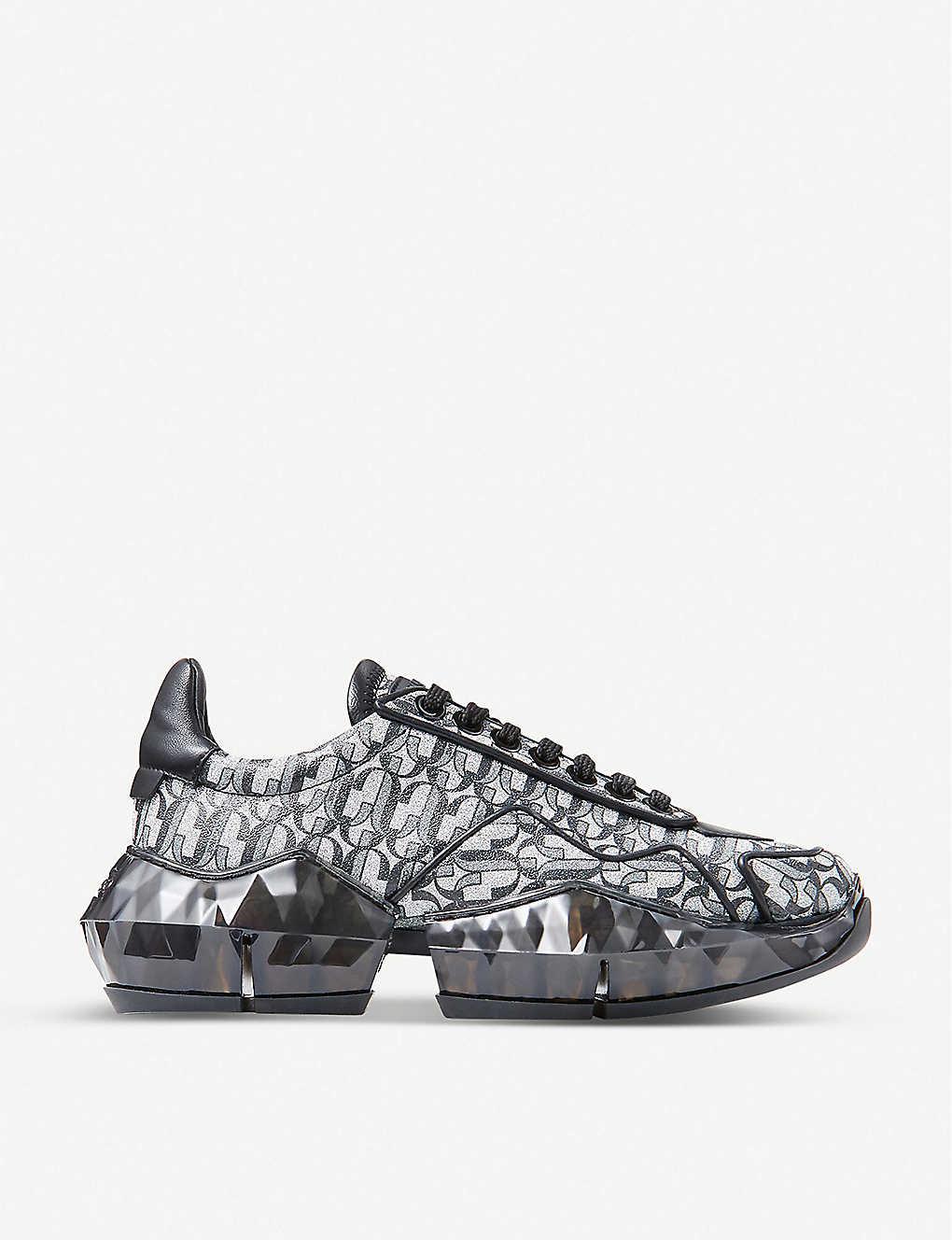 JIMMY CHOO: Diamond F monogrammed metallic-leather trainers