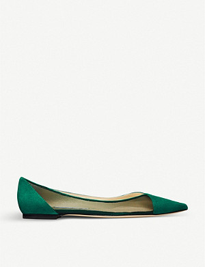 JIMMY CHOO Saia pointed-toe mesh-panelled suede flats