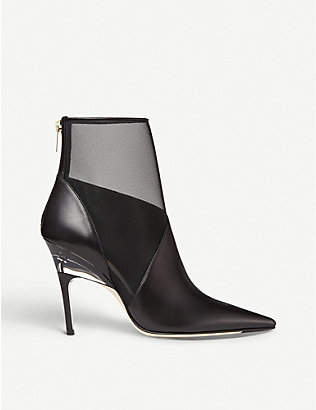 JIMMY CHOO: Sioux 100 leather and mesh boots