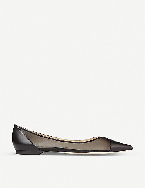JIMMY CHOO Saia pointed-toe mesh-panelled leather flats