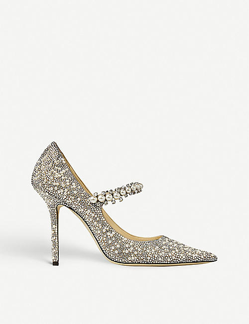 JIMMY CHOO: Baily 100 crystal and pearl-embellished suede courts