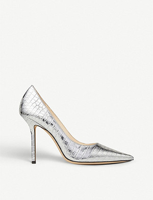 JIMMY CHOO Love 100 crocodile-embossed metallic-leather pumps