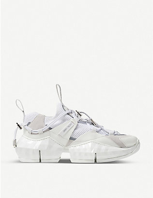 JIMMY CHOO: Diamond Trail/F mesh and leather trainers