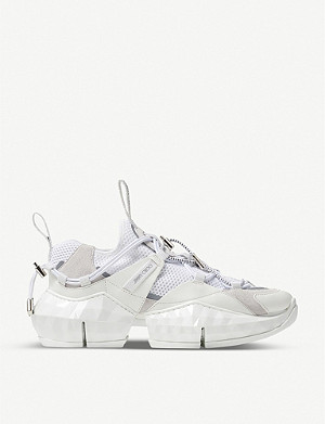 JIMMY CHOO Diamond Trail/F mesh and leather trainers