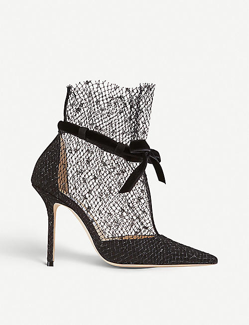 JIMMY CHOO Fira 100 mesh overlay suede courts