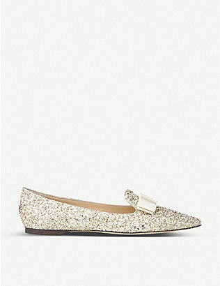 JIMMY CHOO: Gala glitter pointed-toe flats