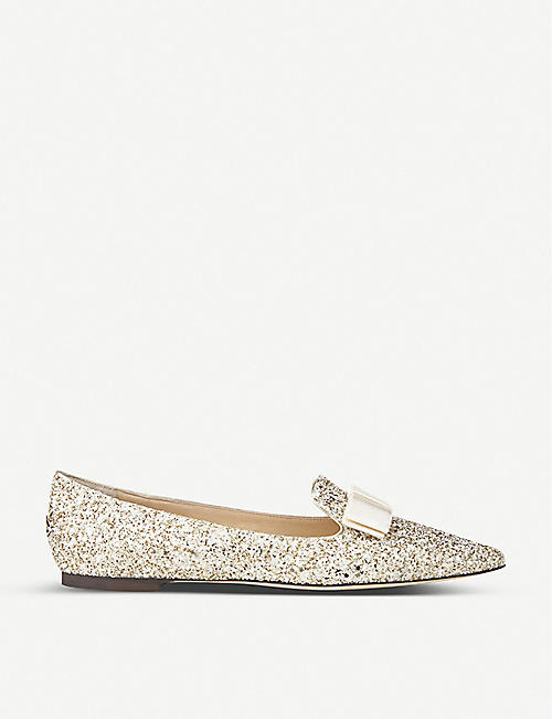 JIMMY CHOO Gala glitter pointed-toe flats