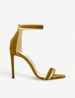 JIMMY CHOO Dochas 100 velvet heeled sandals