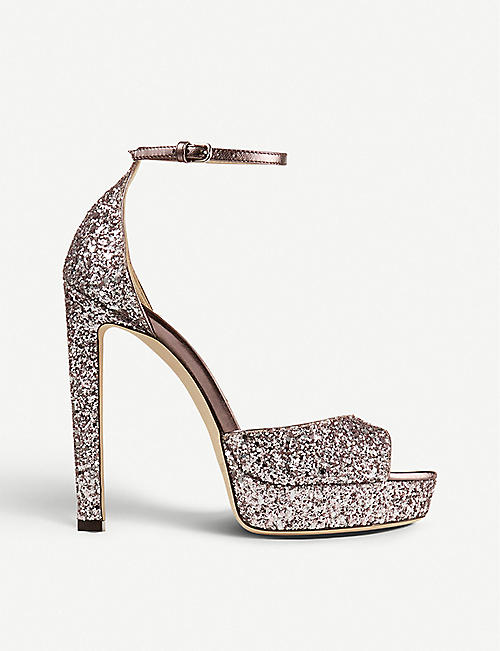 JIMMY CHOO: Pattie 130 glitter platform sandals