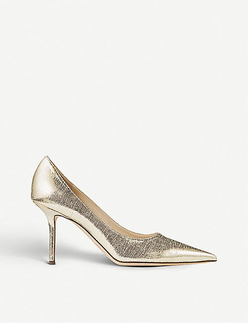JIMMY CHOO Love 85 metallic lizard-effect leather pumps