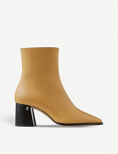 JIMMY CHOO BRYELLE 65 SOFT CALF LEATH BUTTER RUM