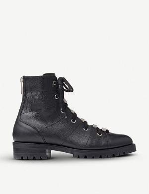 JIMMY CHOO Bren grained-leather biker boots