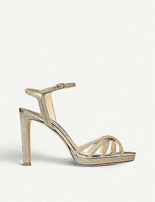 JIMMY CHOO: Lilah 100 glittered sandals