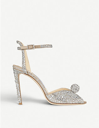 JIMMY CHOO: Sacora 100 crystal-embellished suede sandals