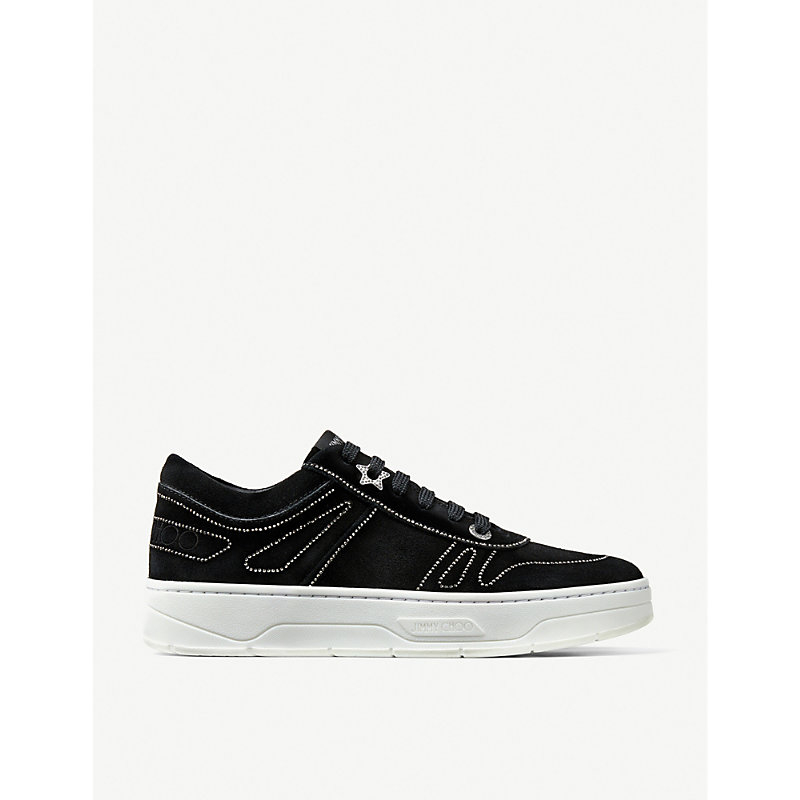 Jimmy Choo Suedes HAWAII LOGO-LACE LEATHER TRAINERS