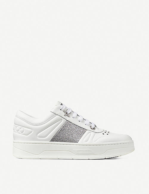 JIMMY CHOO: Hawaii logo-lace leather trainers