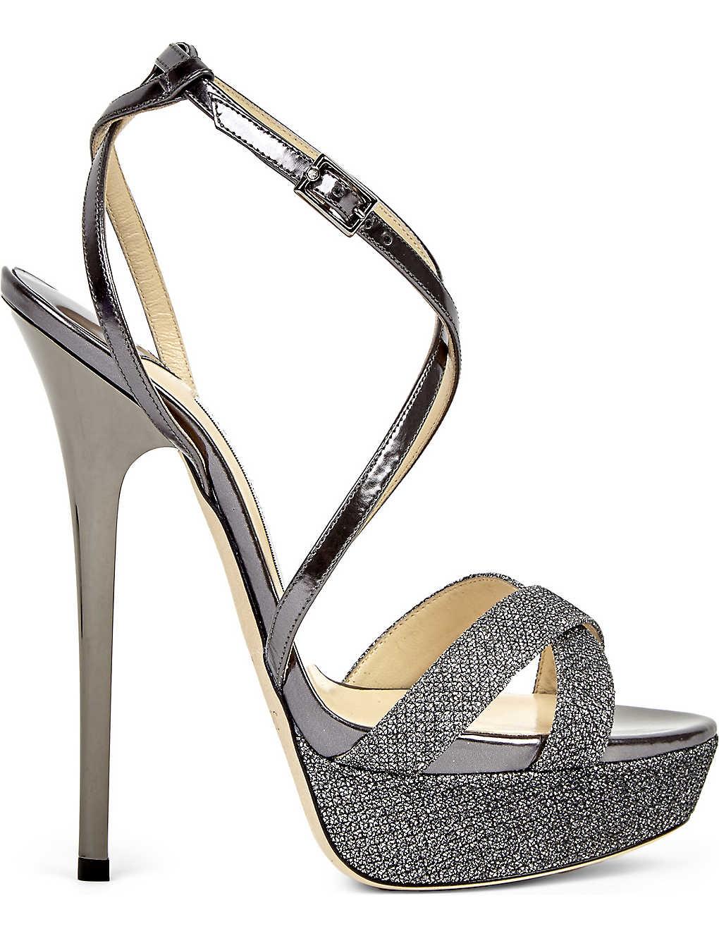 529d9fb54303 JIMMY CHOO - Liddie 145 leather glitter platform sandals ...