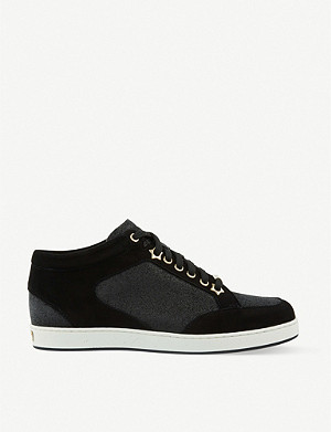 JIMMY CHOO Miami suede and fine glitter trainers