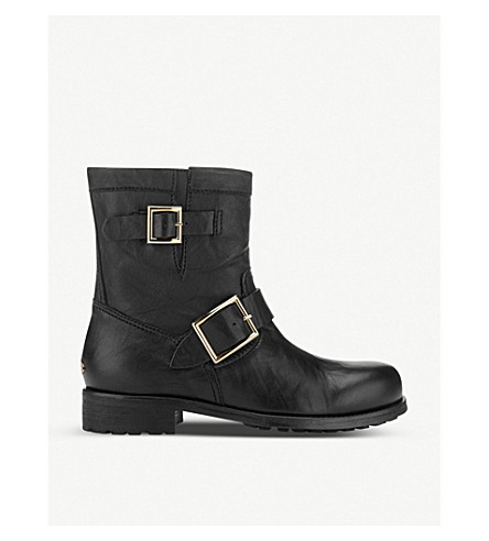 7240bd601eb7 JIMMY CHOO Youth leather biker boots (Black