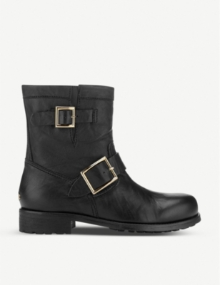 JIMMY CHOO Youth leather biker boots