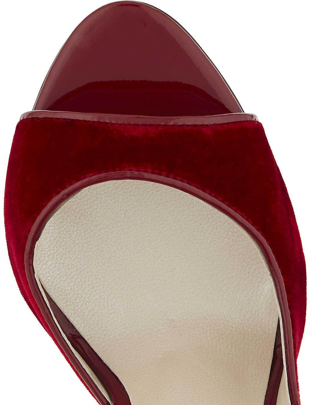 b58ce6c5a6b KAREN MILLEN - Velvet peep-toe court heels | Selfridges.com