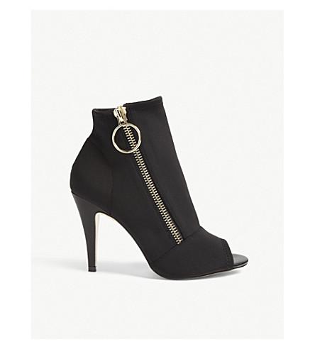 Women'S Neoprene Peep Toe High Heel Booties in Black